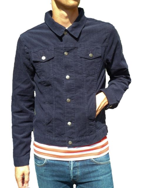 Anderson - Short Corduroy Slim Jacket - Navy Blue Cord